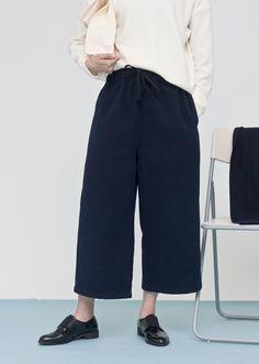 Image of Navy Wide Leg Pants
