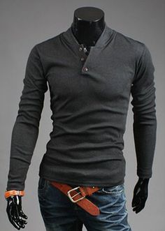 Slimming Trendy Stand Collar Button Design Long Sleeve Polyester Sweatshirt For Men #women, #men, #hats, #watches, #belts, #fashion
