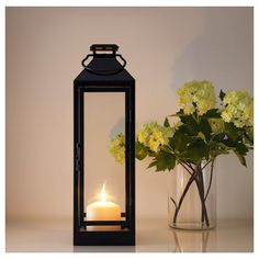 IKEA - LAGRAD, Lantern for candle, indoor/outdoor, black, Suitable for both indoor and outdoor use. Use only 1 block candle with a max. Decor, Shabby Chic Kitchen Decor, Chic Kitchen Decor, Lantern Decor Living, Stairway Decorating, Candles, Lanterns, Outdoor Candle Lanterns, Indoor