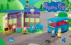 School is in session! Your little one can imagine oinktastic school day adventures with Peppa and friends with Peppa Pig's School and School Bus Playsets – available separately at Toys''R''Us!