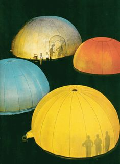 Nylon airhouses by Frank LLoyd Wright. In Life Magazine November 1957. inflatable concert venues