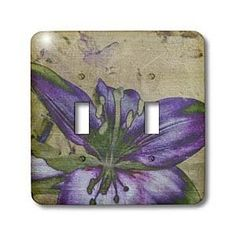 Purple Lily- Floral Art- Nature- Flowers - Light Switch Covers - double toggle switch