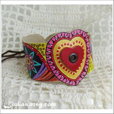 Hand Painted Leather Cuff. Leather Bracelet Abstract Heart