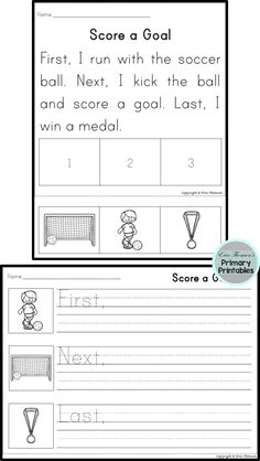 Sequencing Story ~ First, Next,  Last  Team Sports packet.