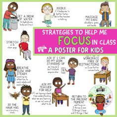 Strategies to Help Students Focus and Pay Attention In Class Poster & Collage Counseling Worksheets, Self Regulation, Kids Corner, Puzzles For Kids, School Counseling, Social Skills, Classroom Management, Pay Attention, Teacher Pay Teachers