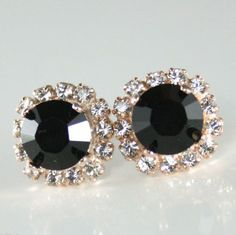 Black crystal earringBlack stud