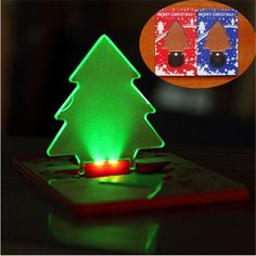 Fashion LED Portable Night Light Card Lamp Tree Shape Same Size As Credit Card In Wallet For Christmas Festival Art Decoration