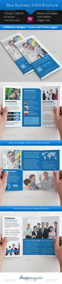 Blue Business 3-fold Brochure InDesign Template - Corporate Brochures