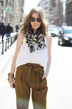 high waisted, paper bag, leopard, white tank
