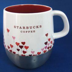 Kiss my Mug... Valentine's Day Starbucks Red And Pink Hearts Ceramic Stainless Steel Heat Retaining Bottom