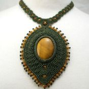 Tiger Eye macrame necklace. Tiger Eye beads. Waxed linen. Adjustable with sliding knots.
