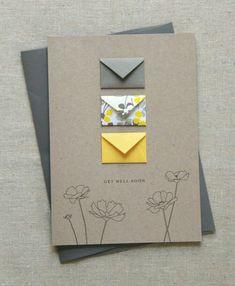Get Well Soon Tiny Envelopes Card – Handwerk und Basteln Hand Illustration, Diy Birthday, Birthday Cards, Birthday Gifts, Tarjetas Diy, Envelope Art, Origami Envelope, Envelope Design, Karten Diy