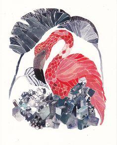 Etsy の Flamingo and Salt Archival Print by unitedthread