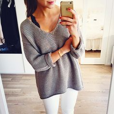 like this but with a necklace and a lighter sweater