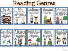 Reading Genres: Printable Charts, Reading Genre Records, and Genre ...
