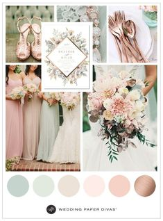Mint and Metallic Wedding Inspiration Plan the perfect mint and metallic wedding with our mint wedding color scheme, including color inspiration for your dress, wedding decorations, and more. March Wedding Colors, Pink Wedding Colors, Wedding Mint Green, Sage Wedding, Gold Wedding Theme, Wedding Color Schemes, Wedding Themes, Dream Wedding, Wedding Decorations