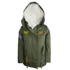 Boys Army Patched Parka