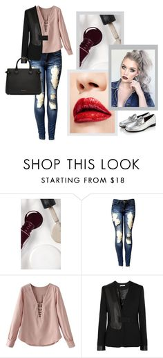 """""""Sem título #459"""" by priscilla14ster on Polyvore featuring moda, Burberry, J Brand, nails, ootd, destroyed e carmim"""