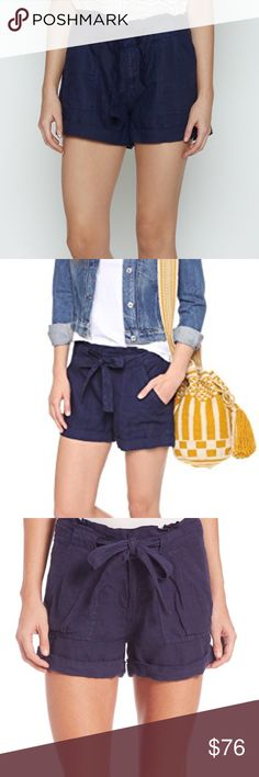 """joie navy linen cuffed shorts Joie  Linen lends a refined feel to these casual, cuffed """"Ellsa"""" Joie shorts. Optional self belt. 4 pockets. Hook-and-eye closure and zip fly. Slinky weave 100% linen. DRY CLEAN ONLY.  size: 0 - as with all Joie bottoms I've ever seen, these seem to run big. I'd say they'd fit a 4-6 best. See measurements.   approx measurements:        •waist across: 15""""        •inseam: 2""""        •rise: 10"""" condition: new with tags Joie Shorts"""