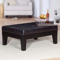 Kashmir leather ottoman with pullout drawer from Ottomans.com, $299.99