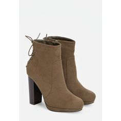 Justfab Booties Miracai ($40) ❤ liked on Polyvore featuring shoes, boots, ankle booties, green, lace up high heel booties, platform booties, faux suede booties, high heel ankle boots and lace up ankle boots