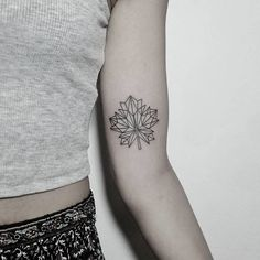 Maple Leaf Tattoo by denizhanozkr Hand Tattoos, Large Tattoos, Girl Tattoos, Tattoos For Guys, Tattoos For Women, Tatoos, Geometric Tattoo Meaning, Tattoos With Meaning, Photomontage