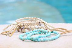 Boho Tiny Beige Riverstone Stretch Bracelet by HappyGoLuckyJewels