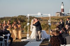 Wedding Ceremony at camp hero in Montauk Long Island.