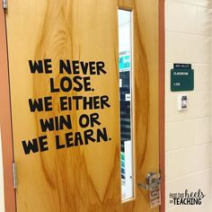 New door decor! Thank you Nelson Mandela! There's a lesson in everything we do! We always win! #classroomdecor