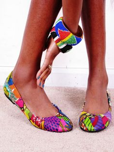 Tendance Chaussures   Ankara Collage African Print Patchwork Reconstructed Flats Ballerina Multi Color