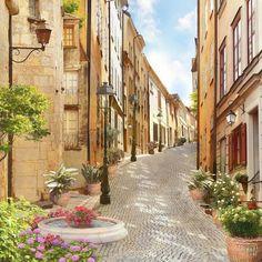 улица, цветы, фонтан, италия