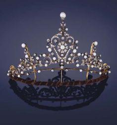 Totally Tiaras. Late Victorian era 1890s tiara with Diamonds and Pearls.