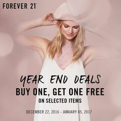 'Tis the season to be shopping for last minute ideas for your loved ones!  Check out FOREVER 21 YEAR END DEALS!  Buy one and get one FREE on great selection of fashionable items!  Promo available until January 5, 2017.  For more promo deals, VISIT http://mypromo.com.ph/! SUBSCRIPTION IS FREE! Please SHARE MyPromo Online Page to your friends to enjoy promo deals!