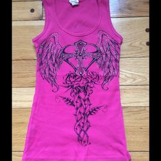 Rhinestone Tank Ribbed tank with cross, roses and rhinestone embellishments on front and back. EUC. Made from 100% cotton. Davida Tops Tank Tops