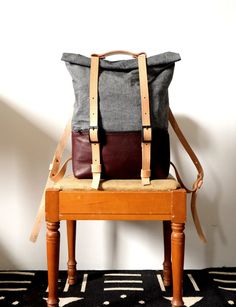 Leather and Waxed Denim Backpack Roll Top Rucksack от AwlSnap Denim Backpack, Backpack Straps, Backpack Bags, Leather Backpack, Healthy Lunches For Work, Healthy Toddler Meals, Work Lunches, Toddler Food, Fruit Displays