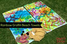 DIY Graffiti Beach Towels http://ilovetocreateblog.blogspot.com/2013/05/diy-graffiti-beach-towels.html?utm_source=CraftGossip+Daily+Newsletter_campaign=6ef3ee8d36-CraftGossip_Daily_Newsletter_medium=email_term=0_db55426a84-6ef3ee8d36-196080085