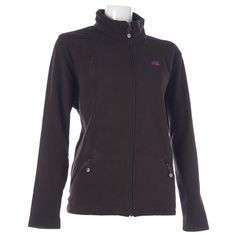 A sleek design, perfect for your next workout or casual outing. Fleece zip-front jacket has a stand collar and two front zipper pockets. Seamed front provides a feminine fit.