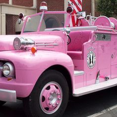 A vintage pink fire truck in St. Helena, California.