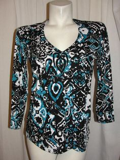 Chicos Travelers Sz 1 M Top V-Neck Shirt Blue Black White Slinky Knit 3/4 Slv #Chicos #Blouse #CareerCasual