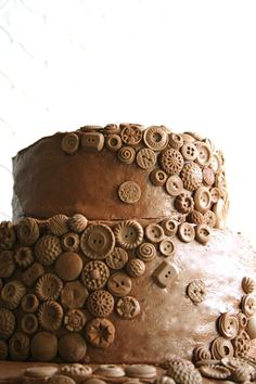 chocolate buttons, chocolate frosting, chocolate cake.