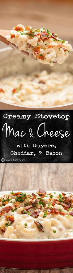 The Best, Creamiest Mac 'n Cheese with Guyere, Cheddar, and Bacon - Easily made on the stovetop. Creamy, smooth, luscious cheese sauce with no grainy-ness. #recipe #dinner