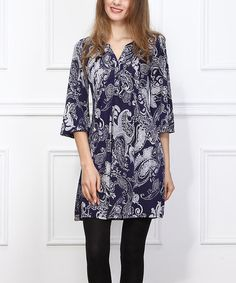 Another great find on #zulily! Navy & White Paisley Tie-Neck Shift Dress by Reborn Collection #zulilyfinds