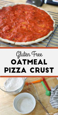 Oatmeal Pizza: Gluten Free Oat Flour Pizza Crust Recipe - Mom Foodie The Effective Pictures We Offer Oat Flour Pizza Crust Recipe, Vegan Pizza Crusts, Oat Flour Recipes, Easy Gluten Free Pizza Crust, Pains Sans Gluten, Whole Food Recipes, Cooking Recipes, Pizza Recipes, Cooking Tips