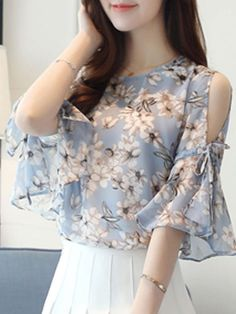 Buy Summer Chiffon Women Open Shoulder Printed Bell Sleeve Half Sleeve Blouses online with… Trendy Dresses, Fashion Dresses, Fashion Blouses, Blouse Neck Designs, Blouse Styles, White Shirts Women, Blouses For Women, Blouse Online, Chic Outfits