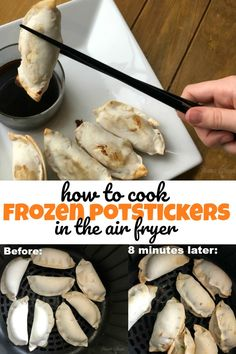 Air fryers are an awesome way to cook up your favorite frozen appetizers and other meals! See how to cook frozen potstickers in the air fryer. Air Fryer Dinner Recipes, Air Fryer Oven Recipes, Air Fryer Recipes Appetizers, Air Fryer Recipes Vegetables, Air Fryer Recipes Breakfast, Recipes Dinner, Frozen Appetizers, Cooks Air Fryer, Chips