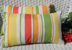Set of 2 - Coral, Lime, Yellow, Orange Stripe Indoor / Outdoor  Rectangle / Lumbar Throw Pillows