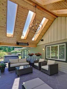 Outdoor Living Area with Skylight - traditional - patio - vancouver - My House Design Build Team Outdoor Living Areas, Outdoor Rooms, Outdoor Decor, Outdoor Patios, Outdoor Kitchens, Outdoor Gardens, Large Backyard, Backyard Patio, Small Patio