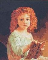 Maria Copil (child) - adapted from William Adolphe Bouguereau's painting The Story Book in 1877 William Adolphe Bouguereau, Mona Lisa, Disney Characters, Fictional Characters, Cross Stitch, Album, Disney Princess, Artwork, Painting