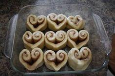Heart-shaped cinnamon buns :)