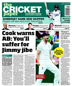Cricket Paper January 2016, Cricket, Abs, Friday, Baseball Cards, Paper, Crunches, Cricket Sport, Abdominal Muscles